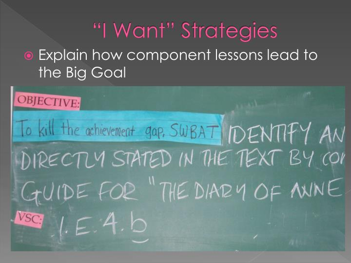 """I Want"" Strategies"