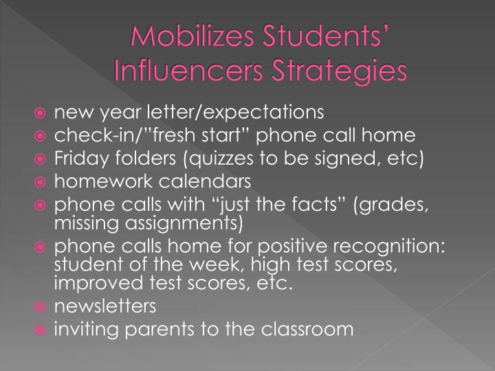Mobilizes Students' Influencers Strategies