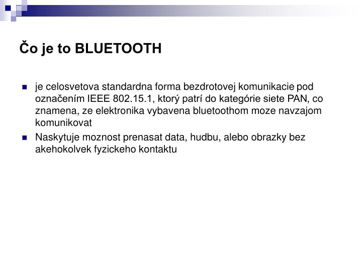 O je to bluetooth