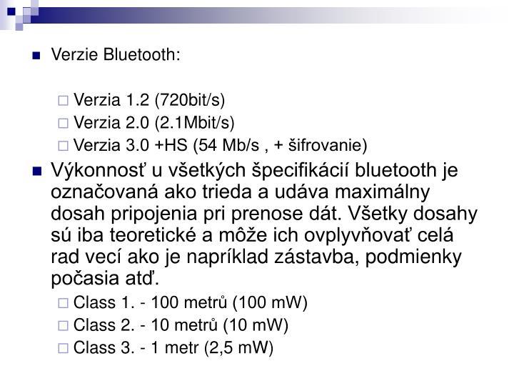 Verzie Bluetooth: