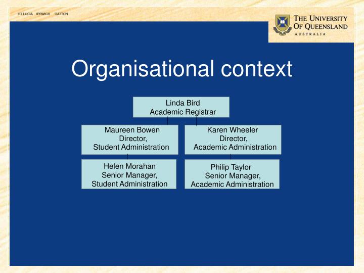 Organisational context
