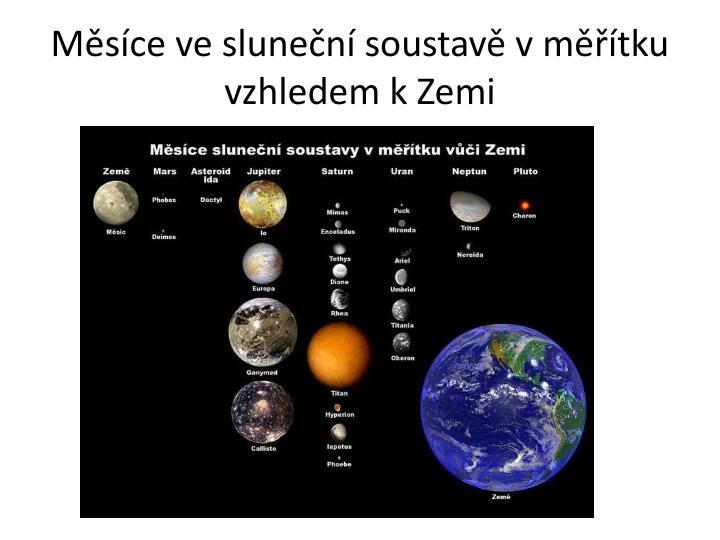 Měsíce ve sluneční soustavě v měřítku vzhledem k Zemi