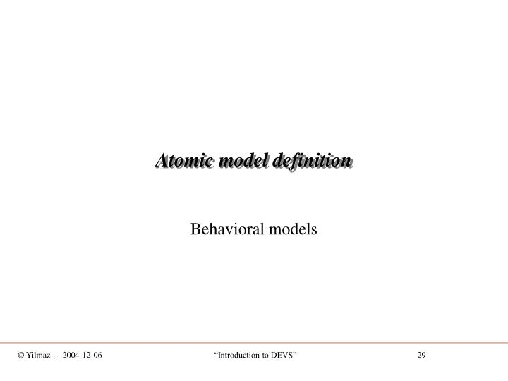 Atomic model definition