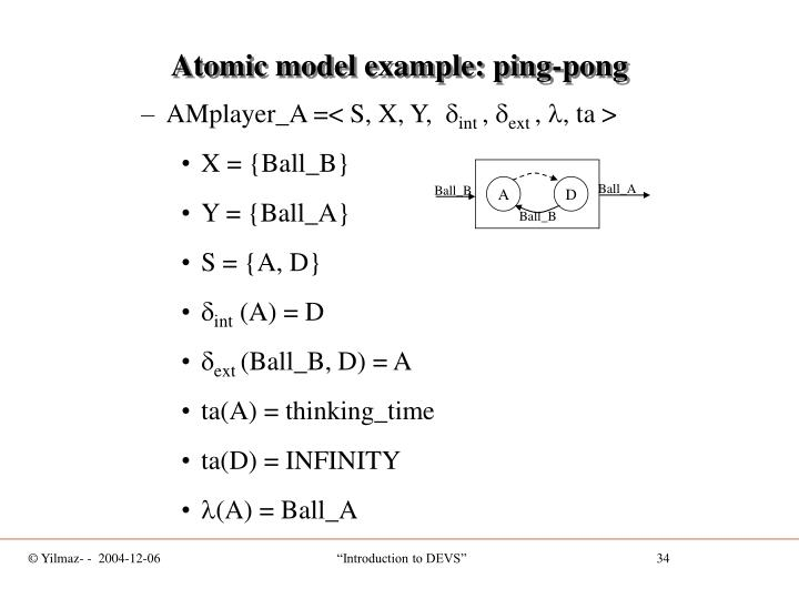 Atomic model example: ping-pong