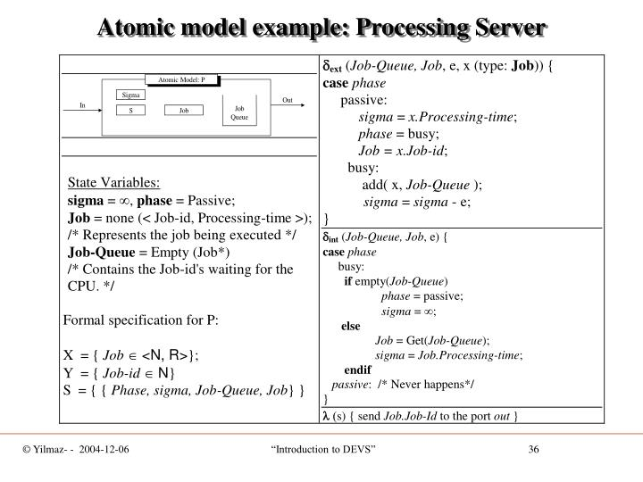 Atomic model example: Processing Server