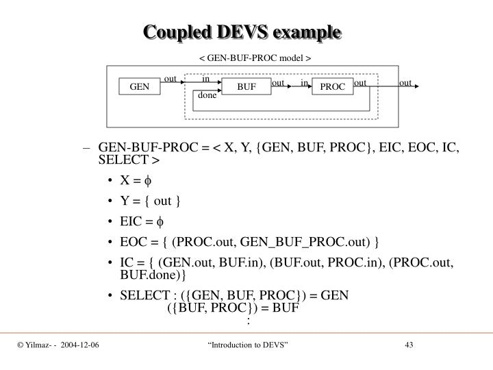 Coupled DEVS example