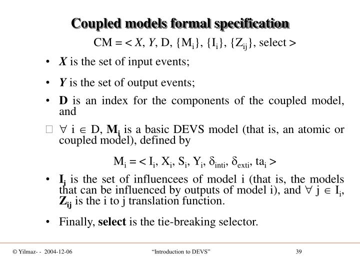 Coupled models formal specification