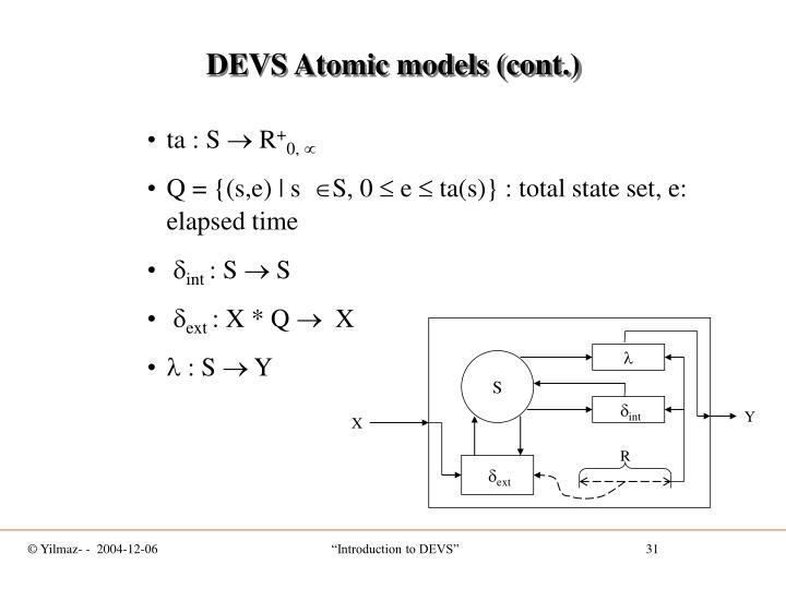 DEVS Atomic models (cont.)