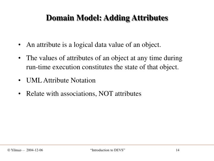 Domain Model: Adding Attributes