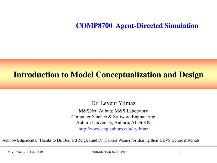 COMP8700  Agent-Directed Simulation