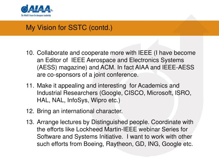 My Vision for SSTC (contd.)