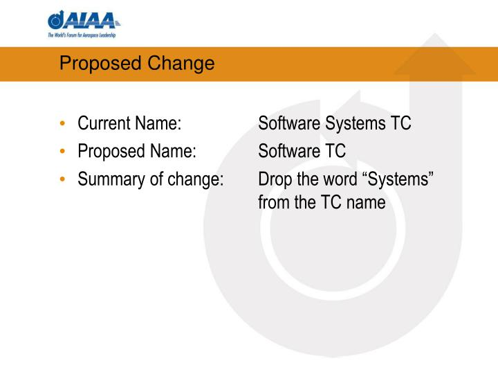 Proposed change