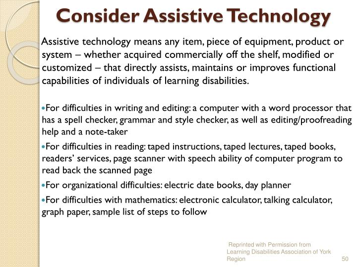 Consider Assistive Technology