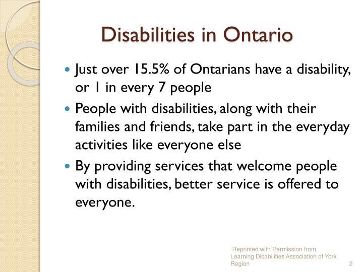 Disabilities in Ontario