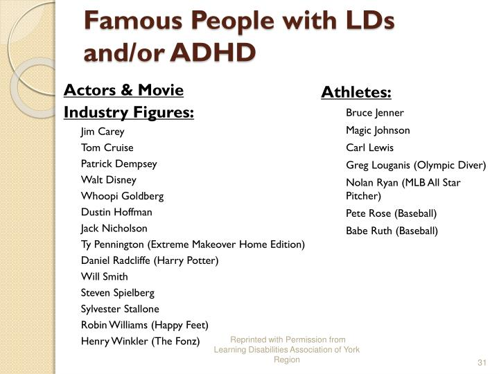 Famous People with LDs and/or ADHD