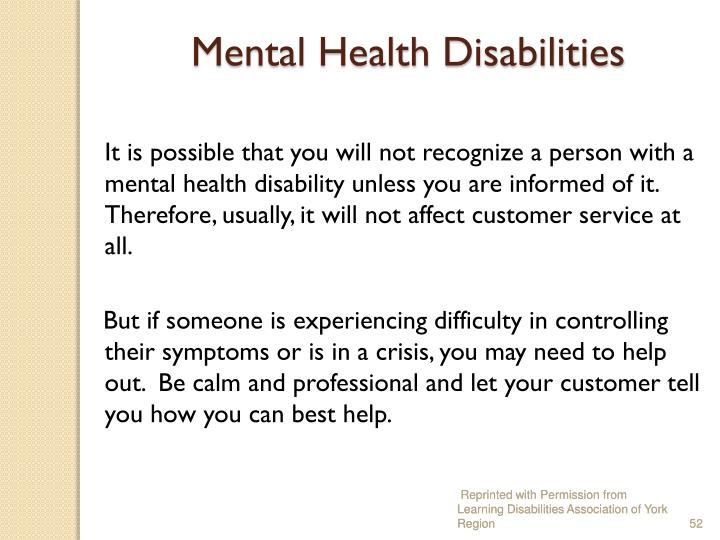 Mental Health Disabilities
