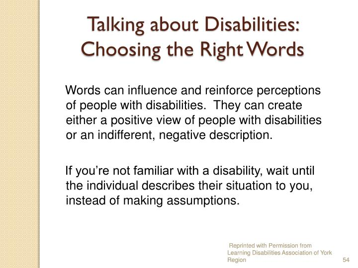 Talking about Disabilities: