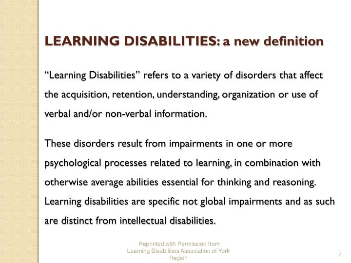 LEARNING DISABILITIES: a new definition