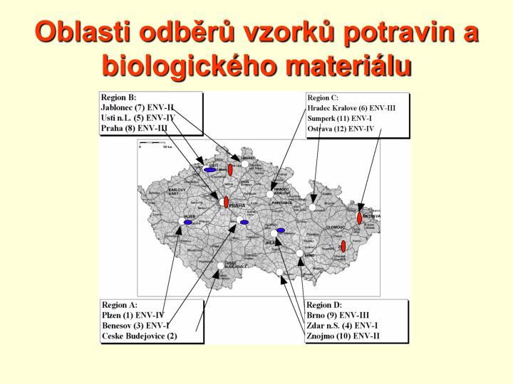 Oblasti odběrů vzorků potravin a biologického materiálu