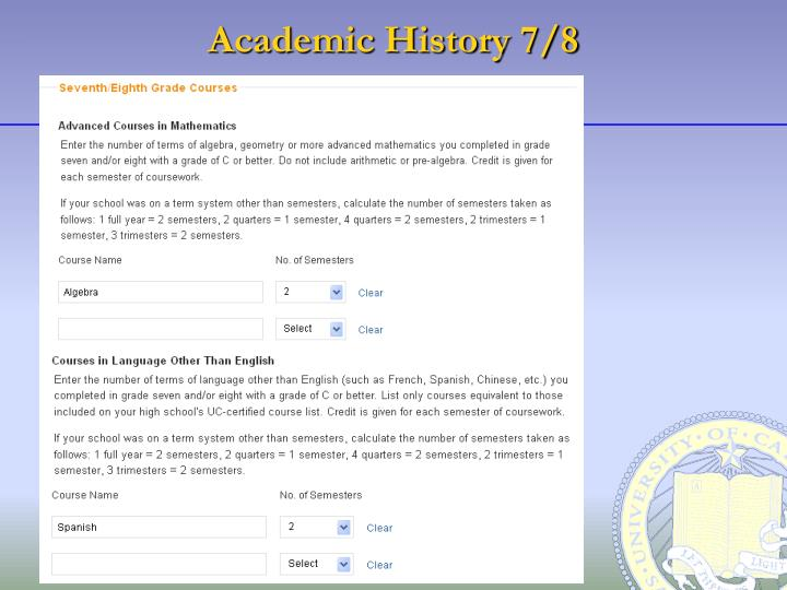 Academic History 7/8