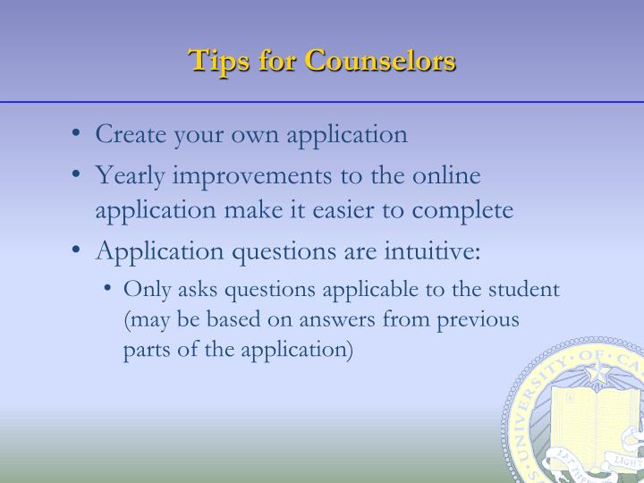 Tips for counselors