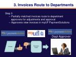3 invoices route to departments