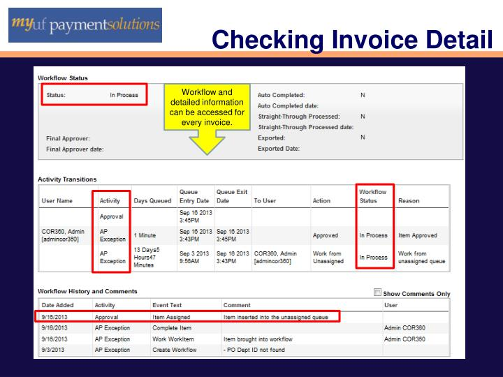Checking Invoice Detail