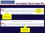 line items tab to view po1