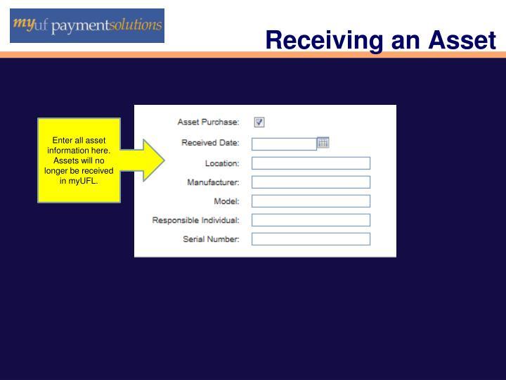Receiving an Asset