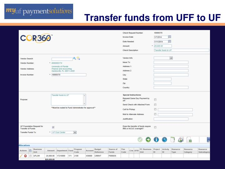 Transfer funds from UFF to UF