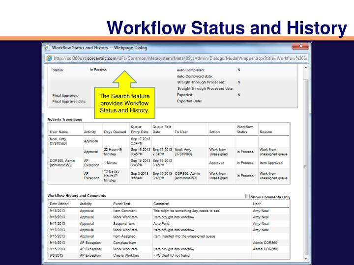 Workflow Status and History