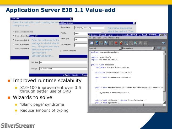 Application Server EJB 1.1 Value-add