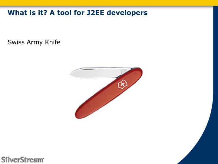What is it? A tool for J2EE developers