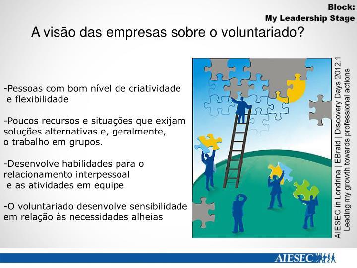 A visão das empresas sobre o voluntariado?