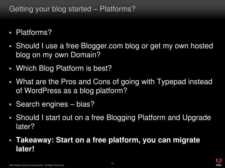Getting your blog started – Platforms?