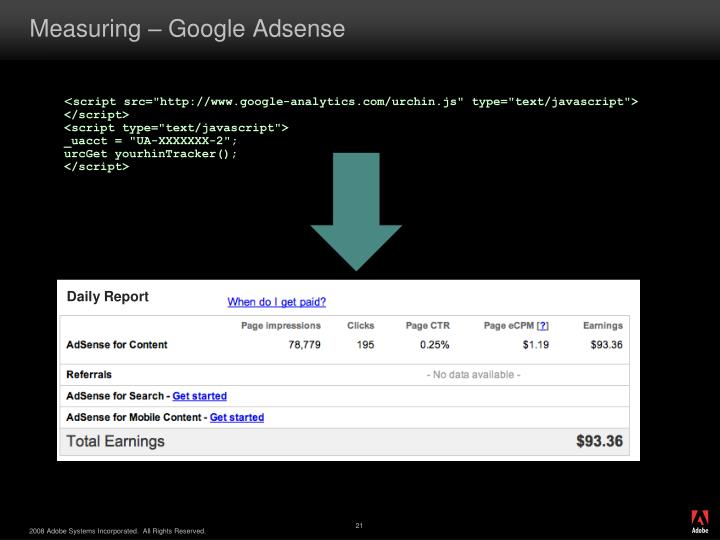 Measuring – Google Adsense