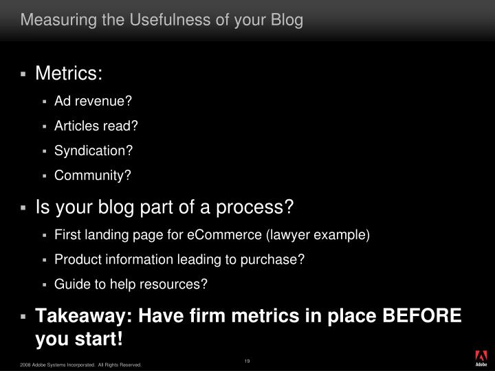 Measuring the Usefulness of your Blog