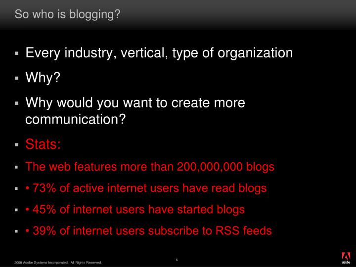 So who is blogging?