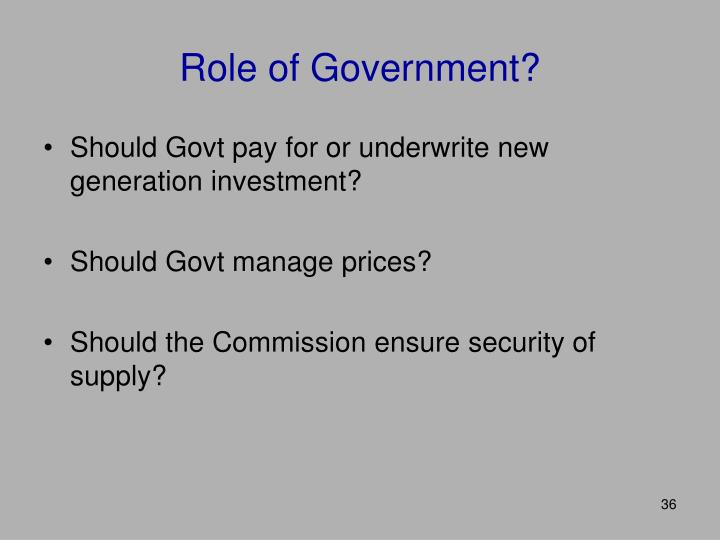 Role of Government?