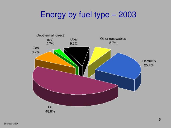 Energy by fuel type – 2003
