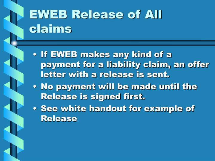 EWEB Release of All claims