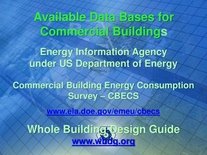 Available Data Bases for Commercial Building