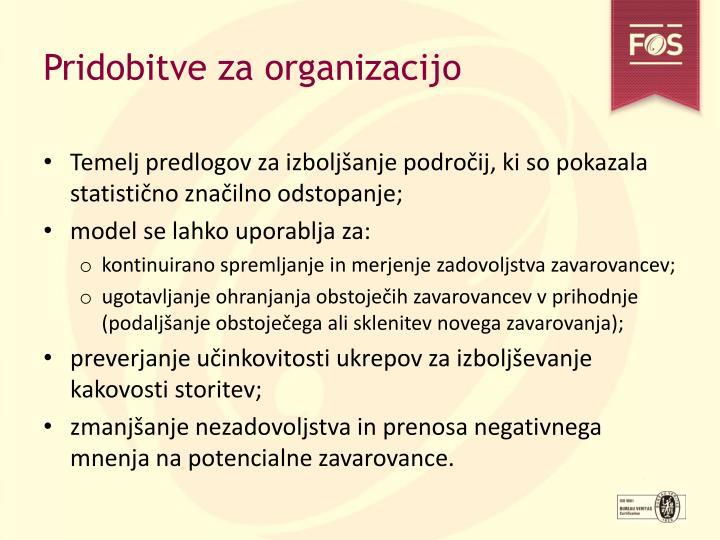 Pridobitve za organizacijo