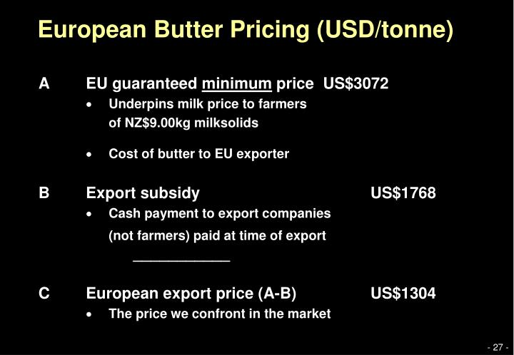 European Butter Pricing (USD/tonne)