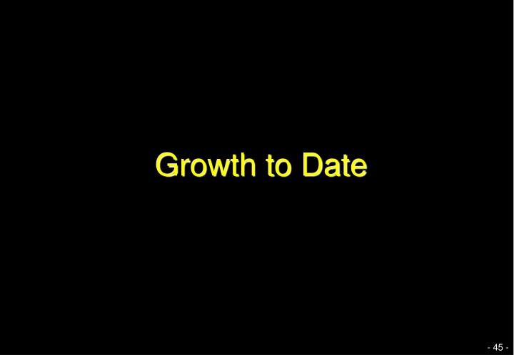 Growth to Date