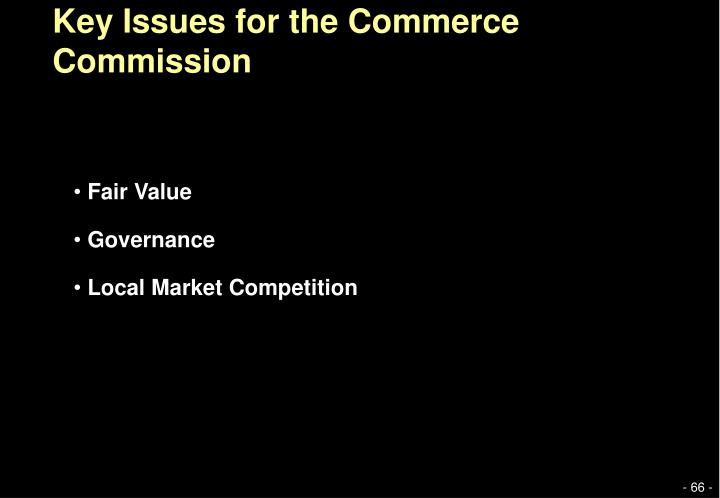 Key Issues for the Commerce Commission