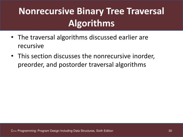 Nonrecursive Binary Tree Traversal Algorithms
