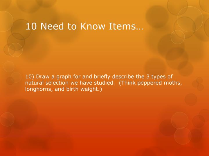 10 Need to Know Items…