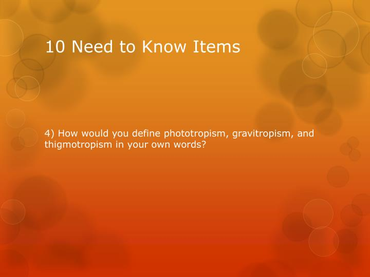10 Need to Know Items