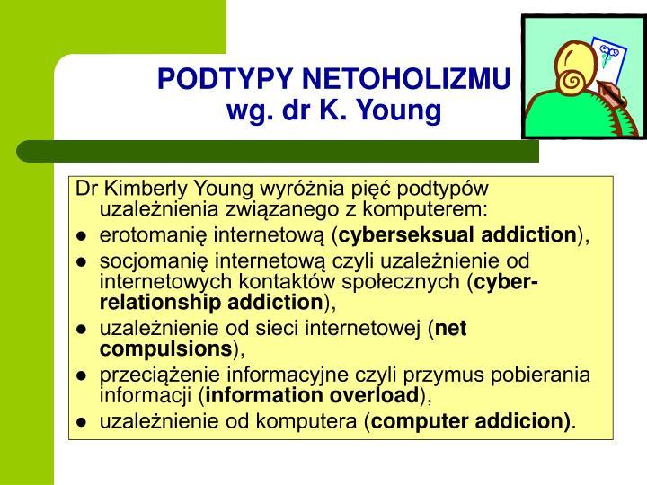 Dr Kimberly Young wyróżnia pięć podtypów uzależnienia związanego z komputerem: